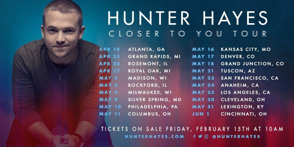 HUNTER HAYES ANNOUNCES 20 DATE 'CLOSER TO YOU' TOUR AMID A BUSY 2019